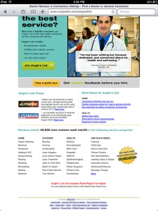 ANgie's List Screen Shot from Flickr