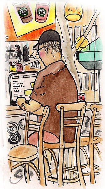 Artist David Jack's drawing of a laptop user at Starbucks