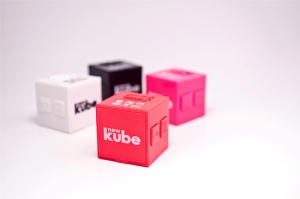CES press photo of the newKUBE MP3 player, billed as the world's smallest.