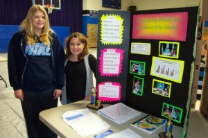 Brittany Whittington and Amber Monteer compared the grease content of various brands of potato chips for their 3rd place finish in the 2013 Missouri regional middle school science fair.