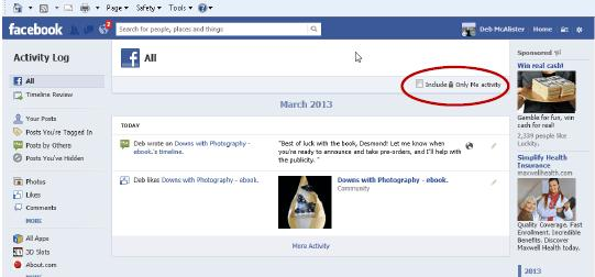 Facebook Activity Log 2 | Marketing Where Technology Intersects Life