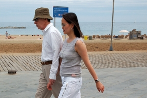 Woody Allen and his wife Soon-Yi (Previn) Allen in Barcelona.