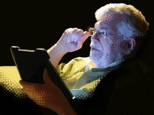 Illustration of man reading on iPad by Susan Murtaugh