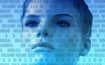 Woman's face with binary code on top