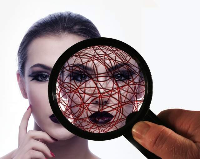 Privacy graphic over woman's face from Pixabay