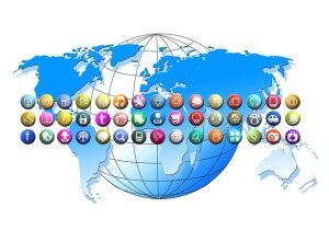 Globe with social media icons by Geralt on Pixabay