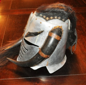 Custom made jousting helmet owned by Geoff McAlister