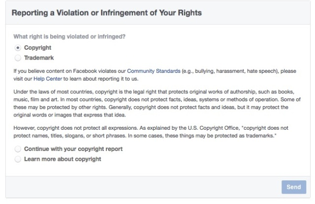 Reporting copyright infringement on Facebook