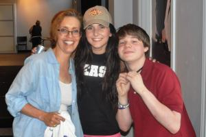 Acting coach Nancy Chartier with students Ashla Soter and Kameron Badgers