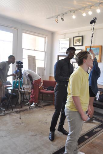 Actors Kameron Badgers and Elijah Britton on the set of FreeLane Film's Beyond the Bridge