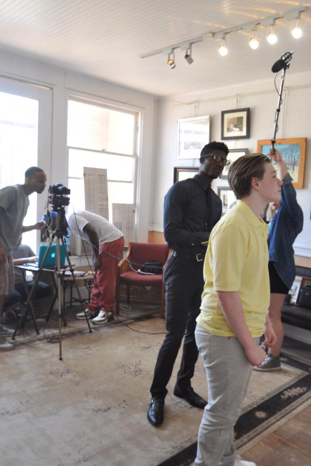 Actors Kameron Badgers and Elijah Britton on the set of FreeLane Film's Beyond the Bridge