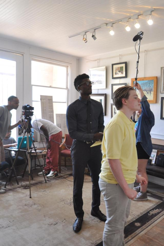 Kameron Badgers and Elijah Britton on the set of Beyond the Bridge